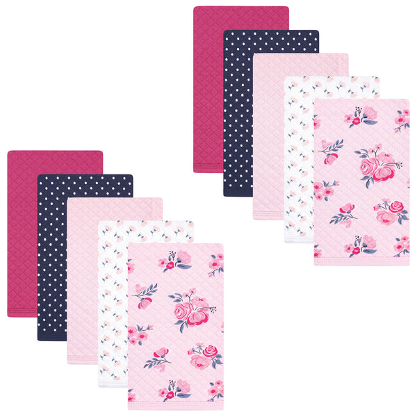 Hudson Baby Quilted Burp Cloths, Pink Navy Floral