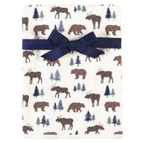 Hudson Baby Quilted Multi-Purpose Swaddle, Receiving, Stroller Blanket, Moose Bear 1-Pack