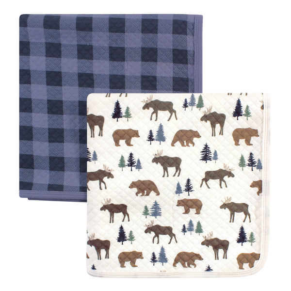 Hudson Baby Quilted Multi-Purpose Swaddle, Receiving, Stroller Blanket, Moose Bear 2-Pack