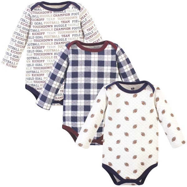 Hudson Baby Quilted Long Sleeve Cotton Bodysuits, Football