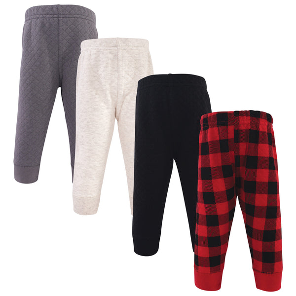Hudson Baby Quilted Jogger Pants 4pk, Buffalo Plaid