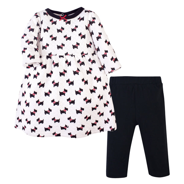Hudson Baby Quilted Cotton Dress and Leggings, Scottie Dog