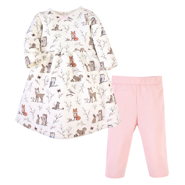 Hudson Baby Quilted Cotton Dress and Leggings, Enchanted Forest