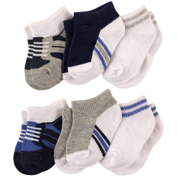 Luvable Friends Newborn and Baby Socks Set, Blue Gray 6-Pack