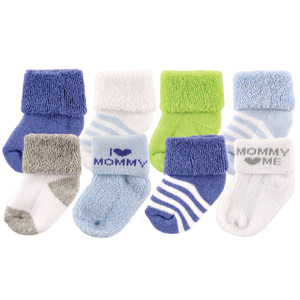 Luvable Friends Newborn and Baby Terry Socks, Blue Mommy