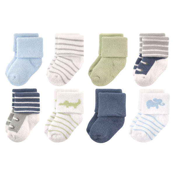 Luvable Friends Newborn and Baby Terry Socks, Safari