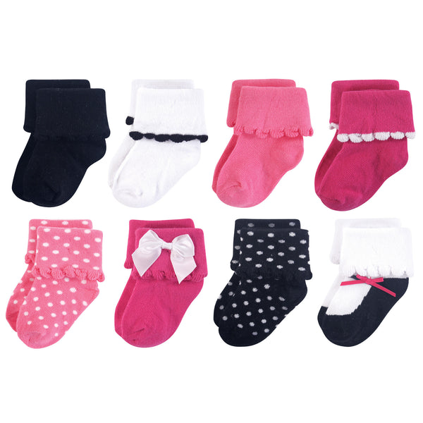 Luvable Friends Fun Essential Socks, Black Pink Bow