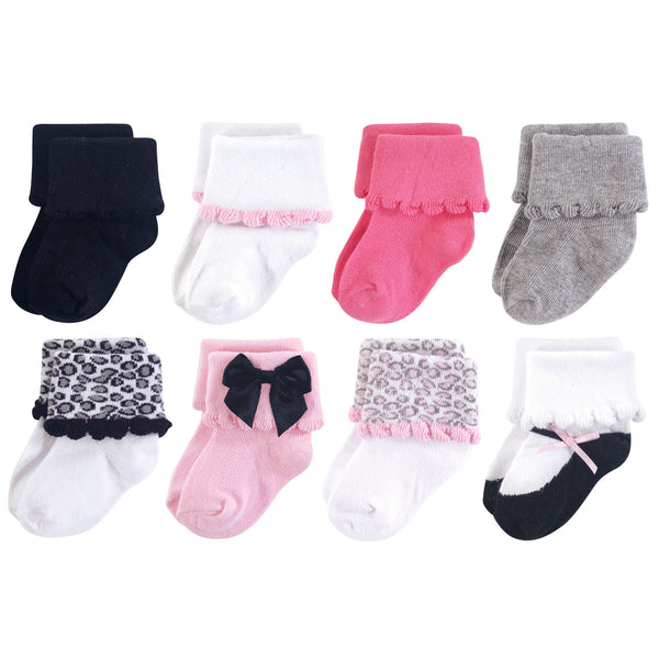 Luvable Friends Fun Essential Socks, Pink Gray