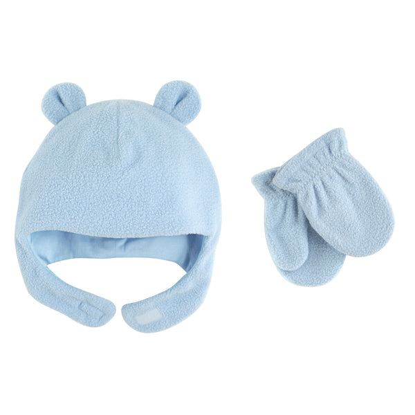 Luvable Friends Beary Cozy Hat and Mitten Set, Light Blue Toddler