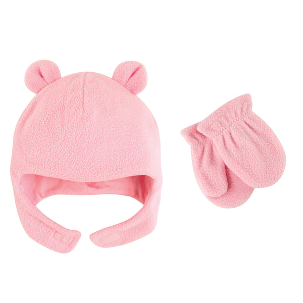 Luvable Friends Beary Cozy Hat and Mitten Set, Light Pink Baby