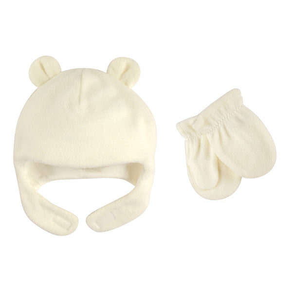 Luvable Friends Beary Cozy Hat and Mitten Set, Cream Toddler