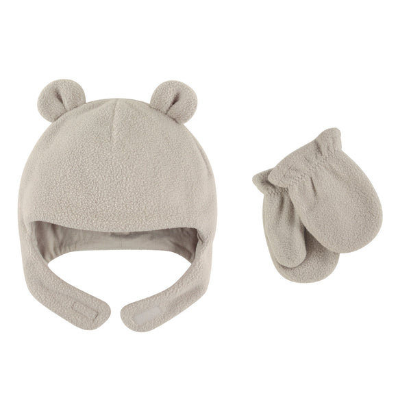 Luvable Friends Beary Cozy Hat and Mitten Set, Light Gray Baby
