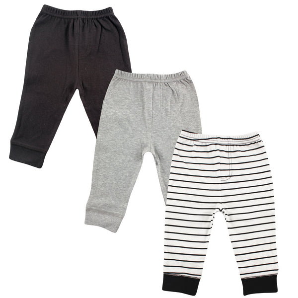 Luvable Friends Cotton Pants, Black Stripe 3-Pack
