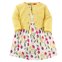 Luvable Friends Dress and Cardigan, Tulips