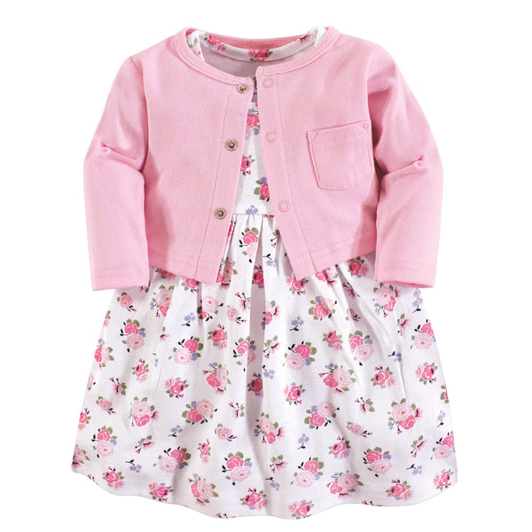 Luvable Friends Dress and Cardigan, Pink Floral