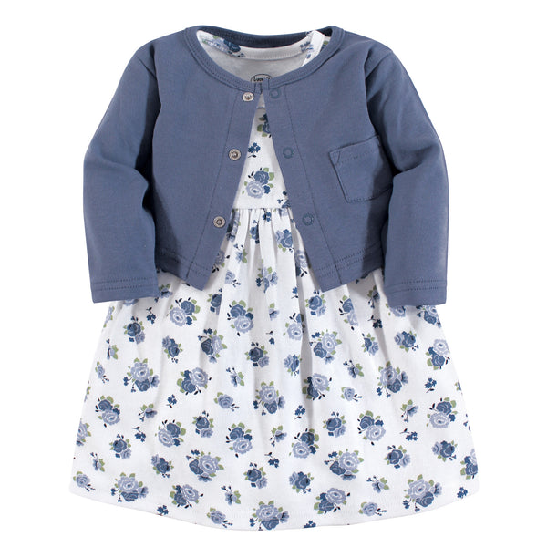 Luvable Friends Dress and Cardigan, Blue Floral