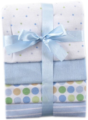 Luvable Friends Cotton Flannel Receiving Blankets, Blue