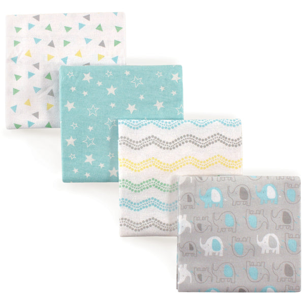 Luvable Friends Cotton Flannel Receiving Blankets, Basic Elephant