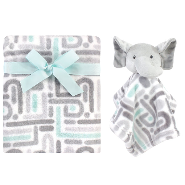 Luvable Friends Plush Blanket and Security Blanket, Elephant Maze, One Size