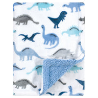 Luvable Friends Plush Blanket with Sherpa Back, Dino