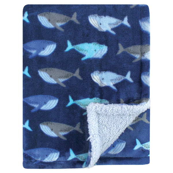 Luvable Friends Plush Blanket with Sherpa Back, Whale