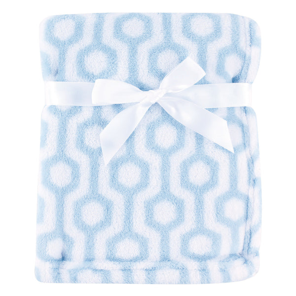 Luvable Friends Coral Fleece Blanket, Blue Hexagon