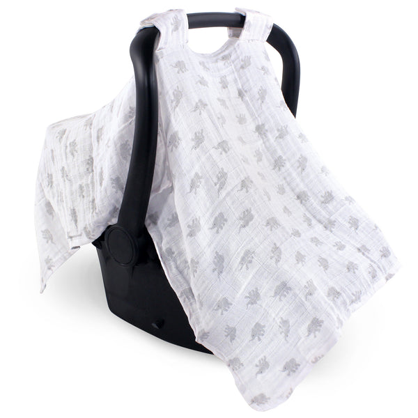 Luvable Friends Muslin Car Seat Canopy, Elephant