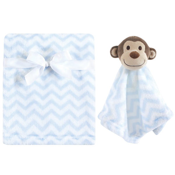 Hudson Baby Plush Blanket with Security Blanket, Blue