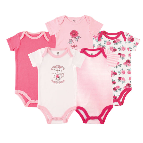 Hudson Baby Cotton Bodysuits, Tea