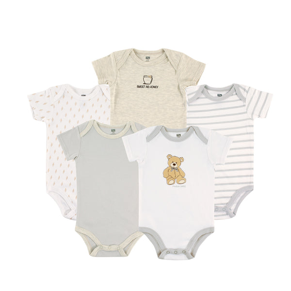 Hudson Baby Cotton Bodysuits, Bear 5-Pack