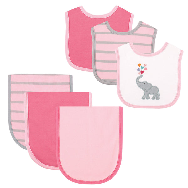 Hudson Baby Cotton Bib and Burp Cloth Set, Elephant