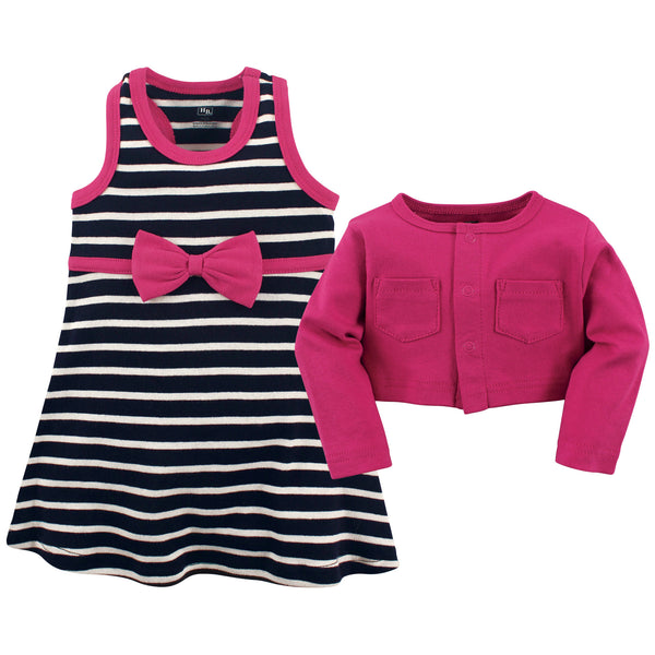 Hudson Baby Cotton Dress and Cardigan Set, Berry Navy