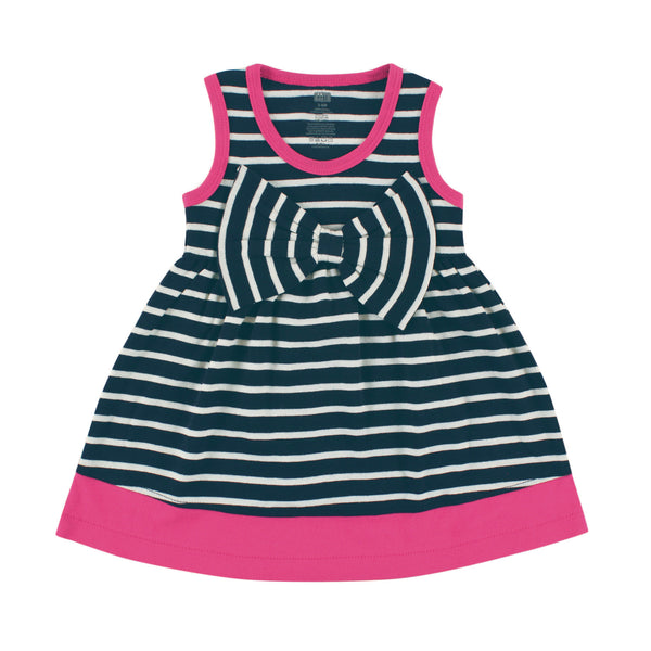 Hudson Baby Cotton Dresses, Navy Pink