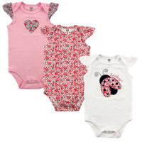 Hudson Baby Cotton Bodysuits, Love Bug 3-Pack