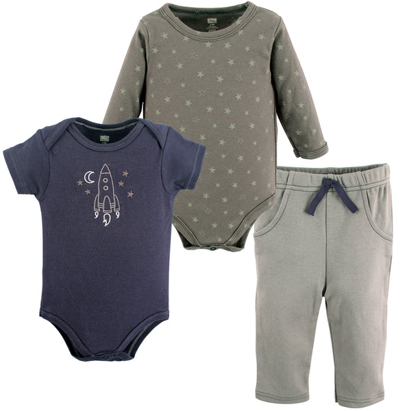Hudson Baby Cotton Bodysuit and Pant Set, Rocket