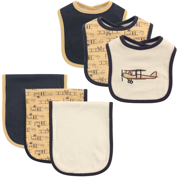 Hudson Baby Cotton Bib and Burp Cloth Set, Airplane