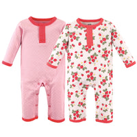 Hudson Baby Cotton Coveralls, Strawberry
