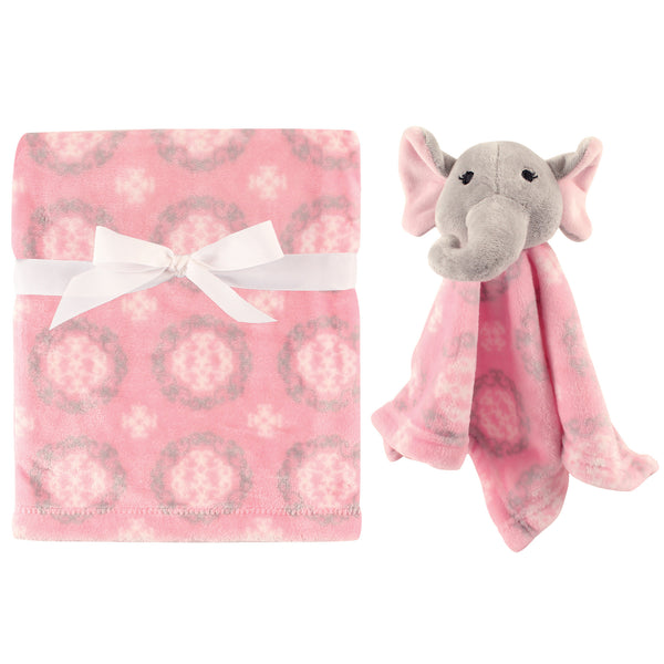 Hudson Baby Plush Blanket with Security Blanket, Girl Elephant