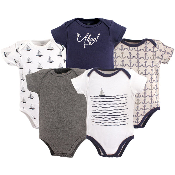 Hudson Baby Cotton Bodysuits, Sailboat