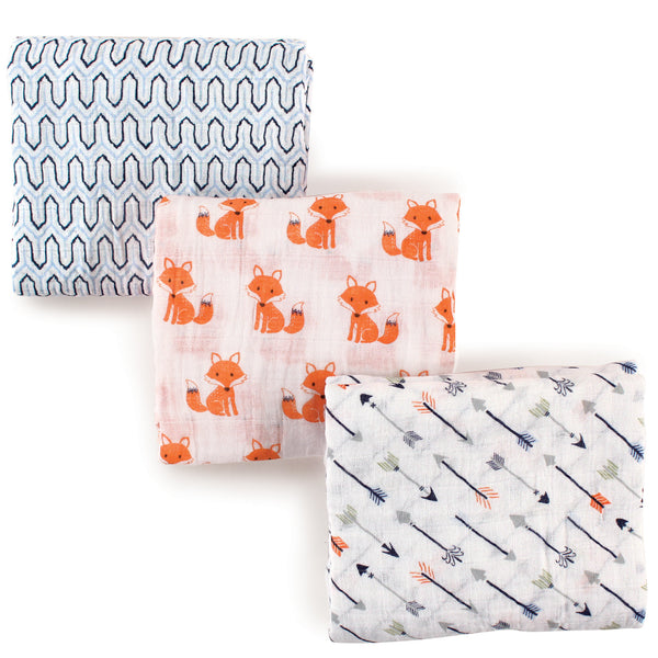 Hudson Baby Cotton Muslin Swaddle Blankets, Foxes