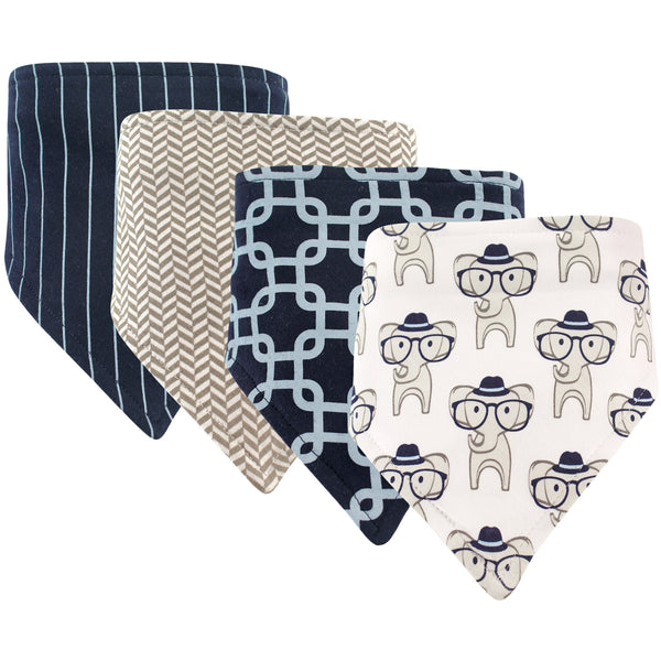 Hudson Baby Cotton Bandana Bibs, Smart Elephant