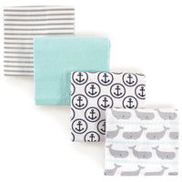 Hudson Baby Cotton Flannel Receiving Blankets, Gray Whale