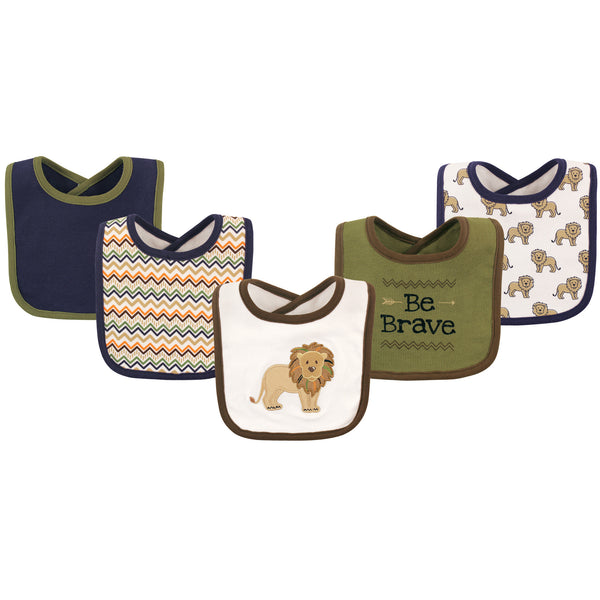 Hudson Baby Cotton Bibs, Lion