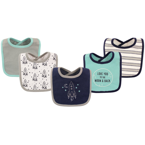 Hudson Baby Cotton Bibs, Rocket