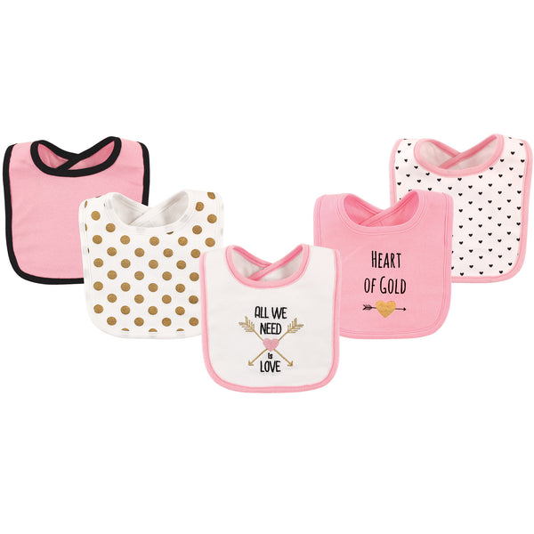 Hudson Baby Cotton Bibs, Heart