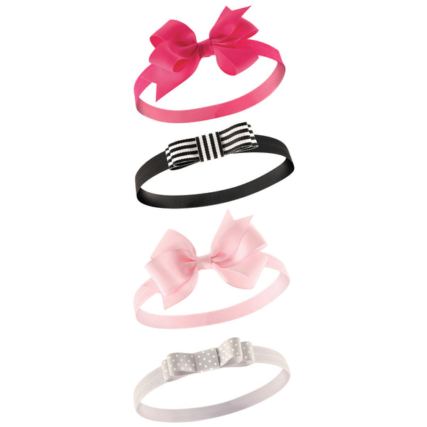 Hudson Baby Cotton and Synthetic Headbands, Black Pink Bow