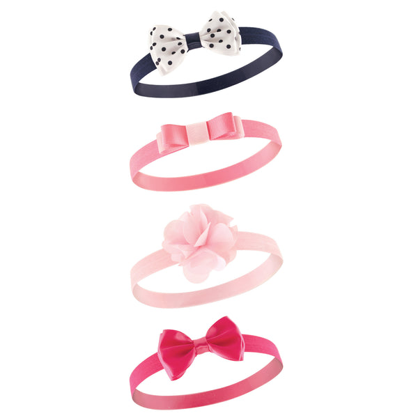 Hudson Baby Cotton and Synthetic Headbands, Navy Pink Flower