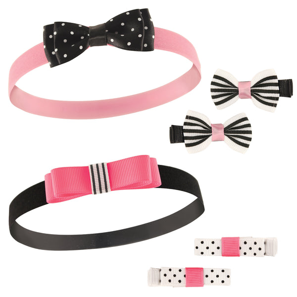 Hudson Baby Cotton and Synthetic Headbands, Black Pink