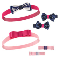 Hudson Baby Cotton and Synthetic Headbands, Navy Pink