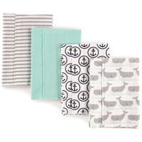 Hudson Baby Cotton Flannel Burp Cloths, Gray Whale